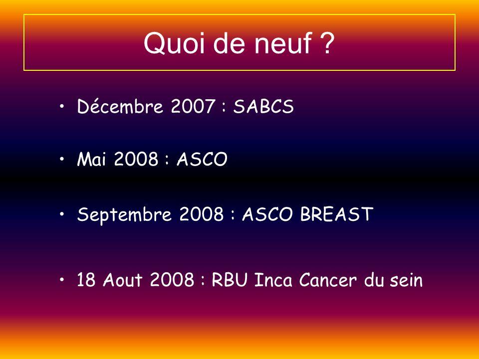 Quoi de neuf ? 18 Aout 2008 : RBU Inca Cancer du sein Décembre 2007 : SABCS Mai 2008 : ASCO Septembre 2008 : ASCO BREAST