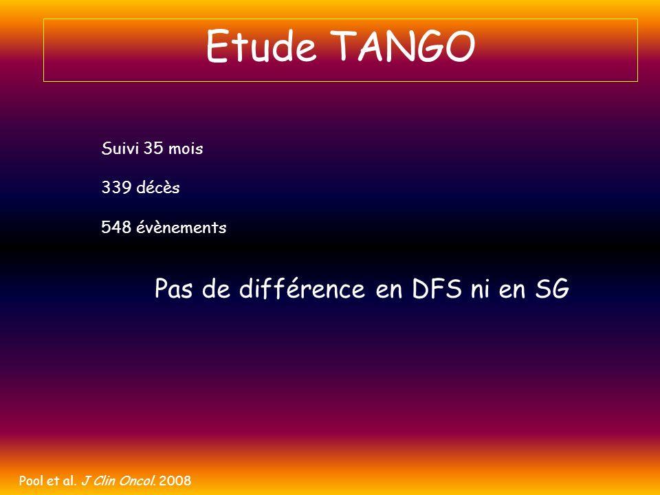 Etude TANGO Pool et al. J Clin Oncol. 2008 Suivi 35 mois 339 décès 548 évènements Pas de différence en DFS ni en SG