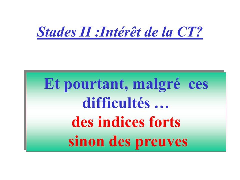 Stades II :Intérêt de la CT? Et pourtant, malgré ces difficultés … des indices forts sinon des preuves Et pourtant, malgré ces difficultés … des indic
