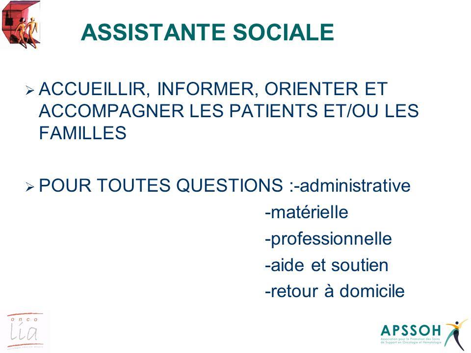 ASSISTANTE SOCIALE ACCUEILLIR, INFORMER, ORIENTER ET ACCOMPAGNER LES PATIENTS ET/OU LES FAMILLES POUR TOUTES QUESTIONS :-administrative -matérielle -p