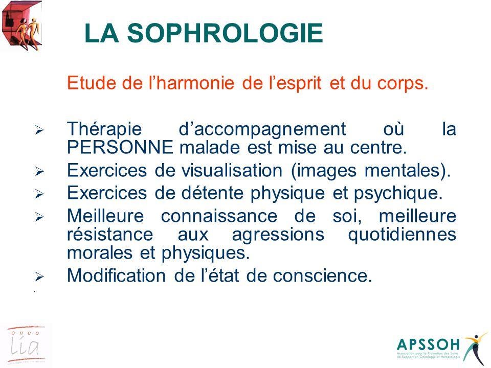 LA SOPHROLOGIE Etude de lharmonie de lesprit et du corps. Thérapie daccompagnement où la PERSONNE malade est mise au centre. Exercices de visualisatio