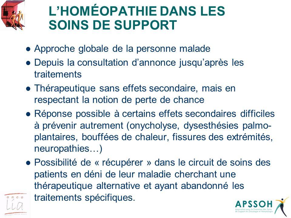 LHOMÉOPATHIE DANS LES SOINS DE SUPPORT Approche globale de la personne malade Depuis la consultation dannonce jusquaprès les traitements Thérapeutique