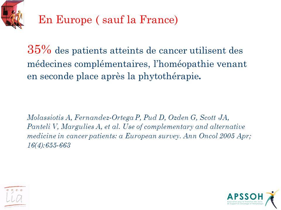 21 En Europe ( sauf la France) 35% des patients atteints de cancer utilisent des médecines complémentaires, lhoméopathie venant en seconde place après