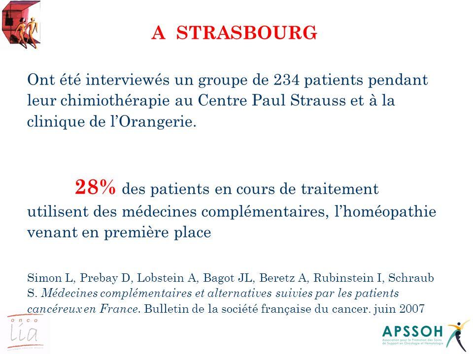 22 A STRASBOURG Ont été interviewés un groupe de 234 patients pendant leur chimiothérapie au Centre Paul Strauss et à la clinique de lOrangerie. 28% d