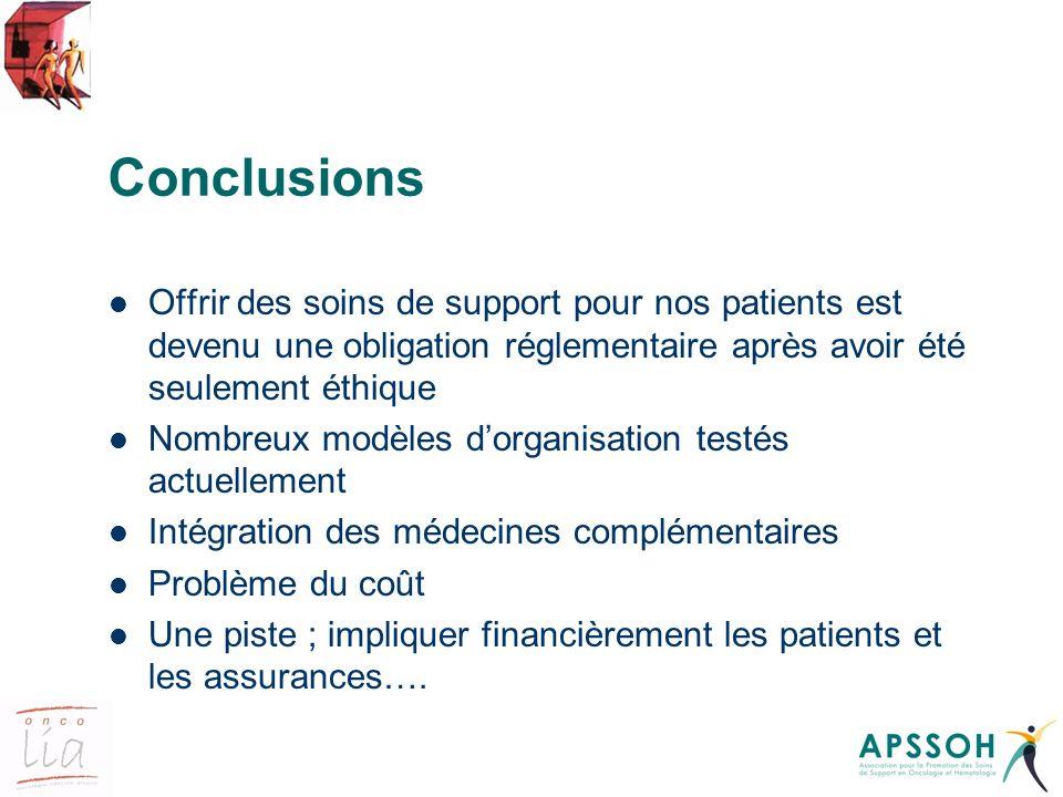Conclusions Offrir des soins de support pour nos patients est devenu une obligation réglementaire après avoir été seulement éthique Nombreux modèles d