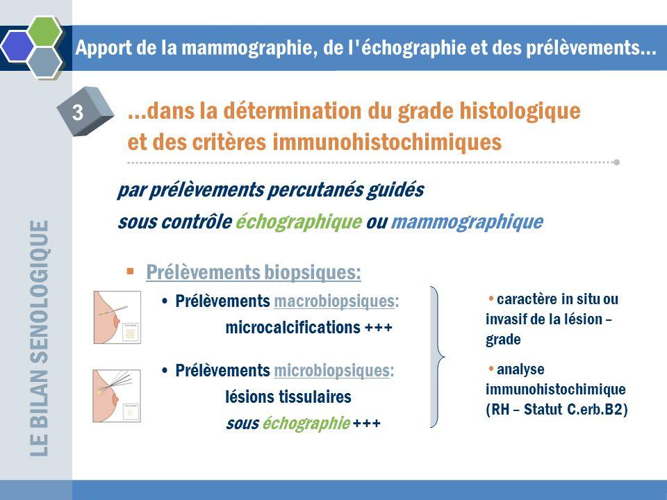 Apport de la mammographie, de l échographie et des prélèvements… par prélèvements percutanés guidés sous contrôle échographique ou mammographique Prélèvements cytologiques: +/- Intéressants ssi positifs: –dans une deuxième localisation –dans ganglion palpable LE BILAN SENOLOGIQUE …dans la détermination du grade histologique et des critères immunohistochimiques 3