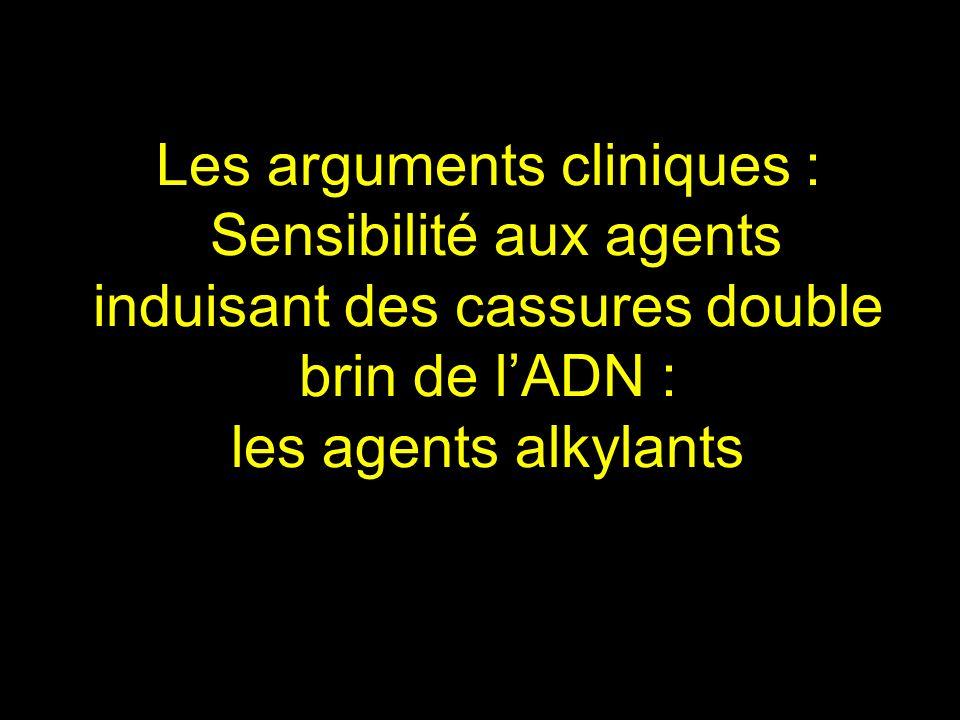 Les arguments cliniques : Sensibilité aux agents induisant des cassures double brin de lADN : les agents alkylants