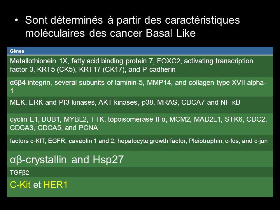 Sont déterminés à partir des caractéristiques moléculaires des cancer Basal Like Gènes Metallothionein 1X, fatty acid binding protein 7, FOXC2, activa