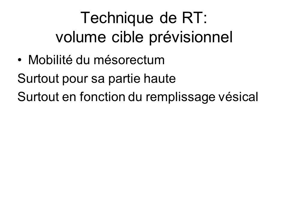 Technique de RT: volume cible prévisionnel Mobilité du mésorectum Surtout pour sa partie haute Surtout en fonction du remplissage vésical