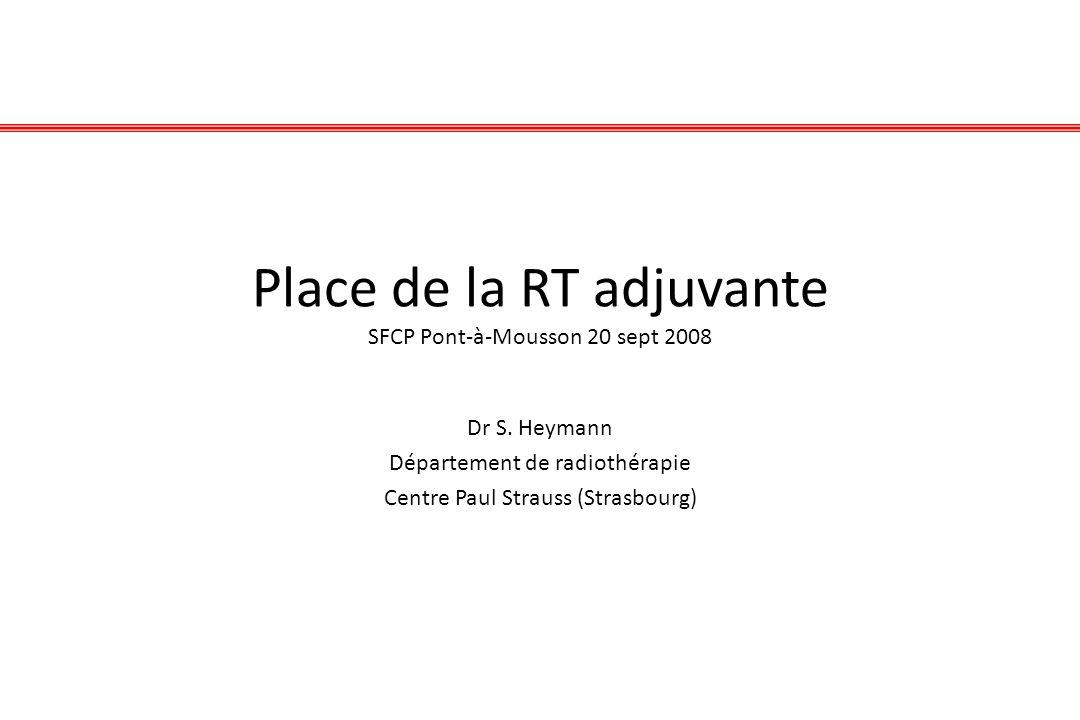 Place de la RT adjuvante SFCP Pont-à-Mousson 20 sept 2008 Dr S. Heymann Département de radiothérapie Centre Paul Strauss (Strasbourg)