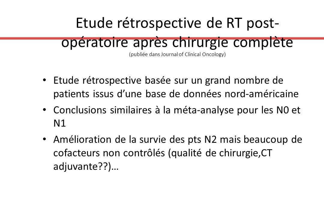 Etude rétrospective de RT post- opératoire après chirurgie complète (publiée dans Journal of Clinical Oncology) Etude rétrospective basée sur un grand
