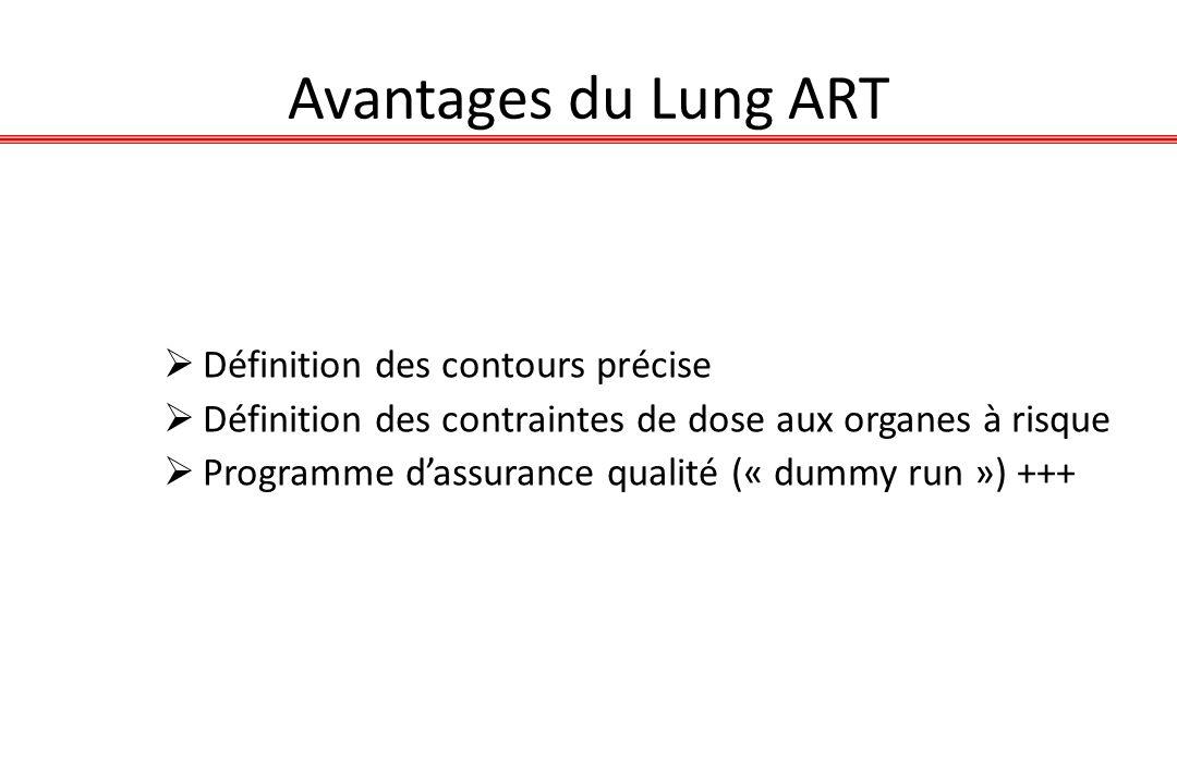 Avantages du Lung ART Définition des contours précise Définition des contraintes de dose aux organes à risque Programme dassurance qualité (« dummy ru