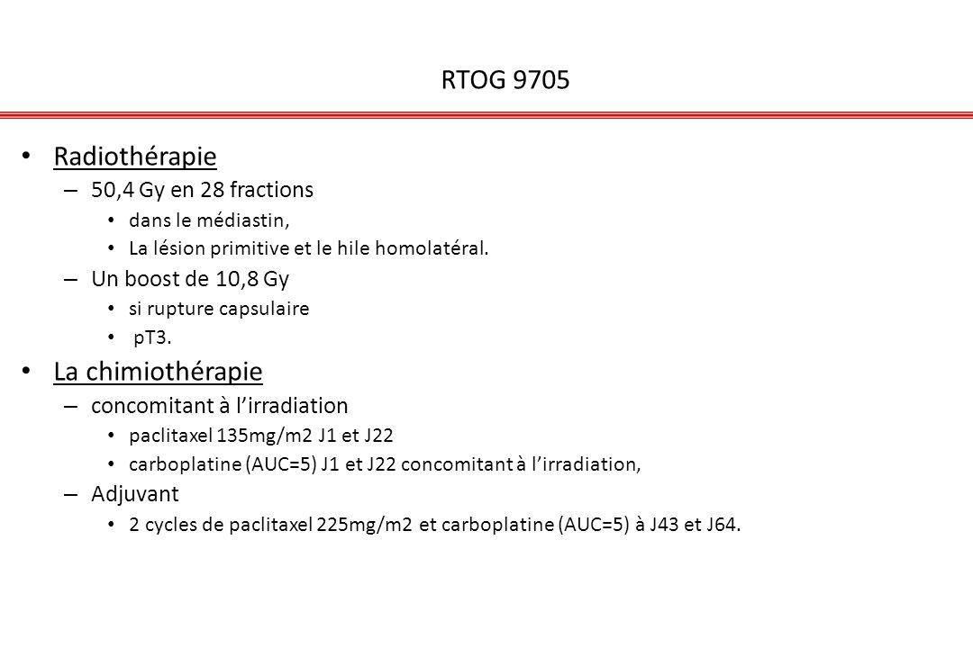 RTOG 9705 Radiothérapie – 50,4 Gy en 28 fractions dans le médiastin, La lésion primitive et le hile homolatéral. – Un boost de 10,8 Gy si rupture caps