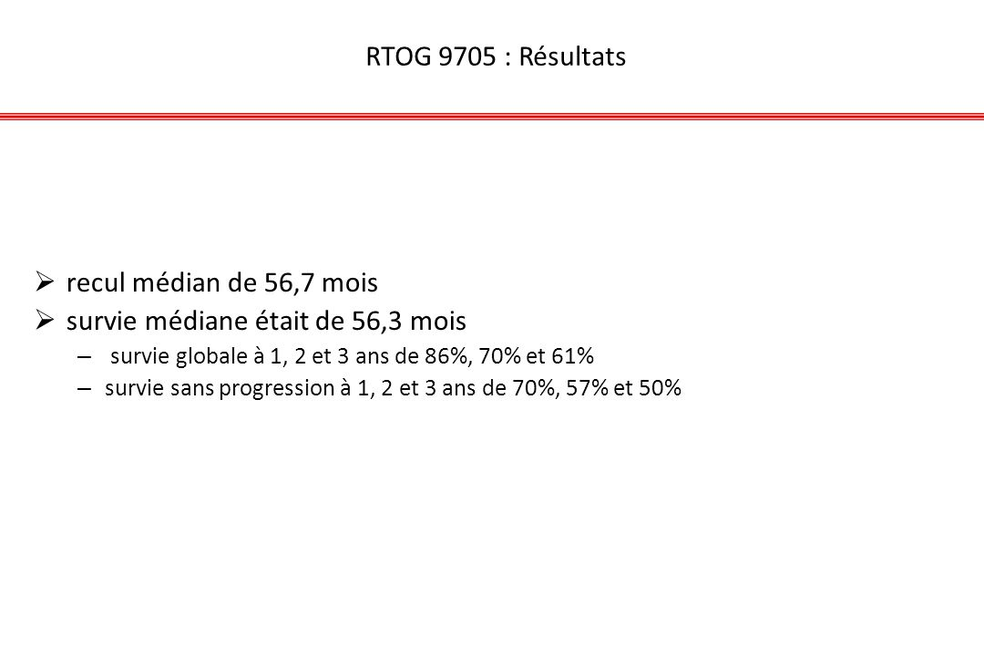 RTOG 9705 : Résultats recul médian de 56,7 mois survie médiane était de 56,3 mois – survie globale à 1, 2 et 3 ans de 86%, 70% et 61% – survie sans pr