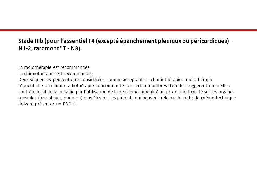 Stade IIIb (pour lessentiel T4 (excepté épanchement pleuraux ou péricardiques) – N1-2, rarement