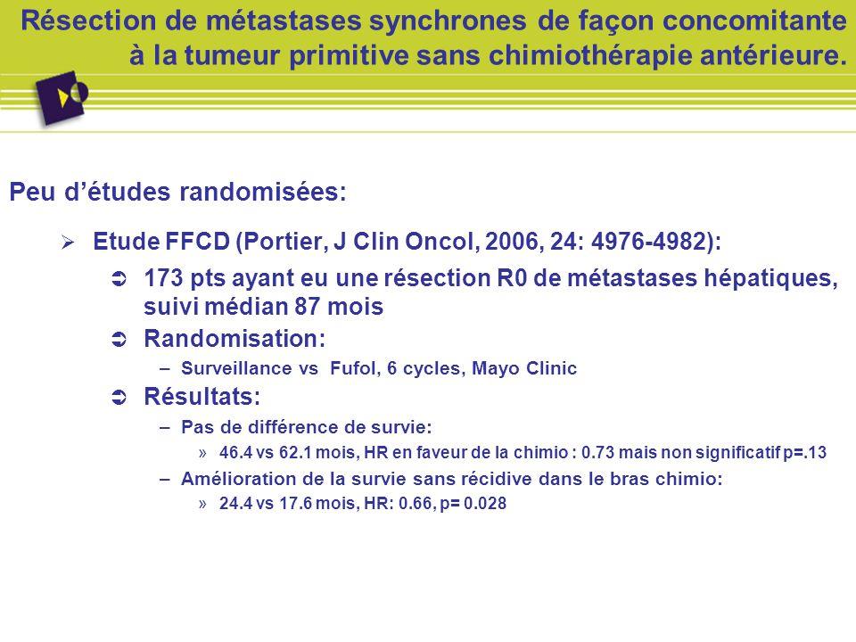 Résection de métastases synchrones de façon concomitante à la tumeur primitive sans chimiothérapie antérieure. Peu détudes randomisées: Etude FFCD (Po