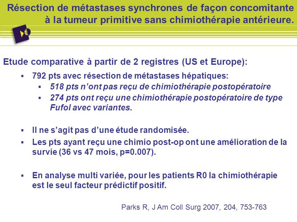 Résection de métastases synchrones de façon concomitante à la tumeur primitive sans chimiothérapie antérieure. Etude comparative à partir de 2 registr