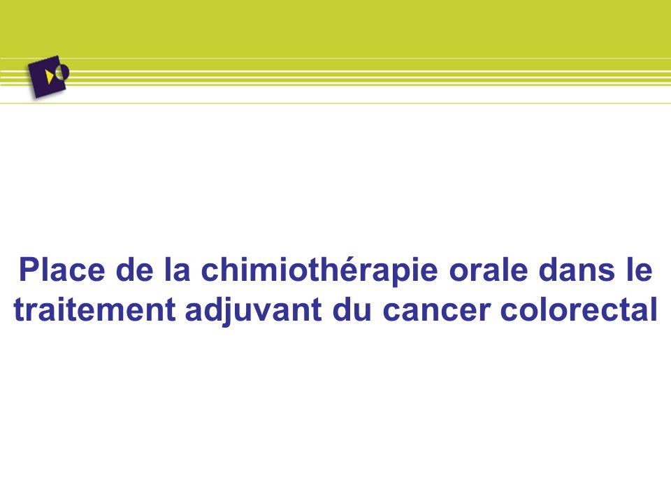 Place de lUFT En traitement adjuvant: Etude de Lembersky, J Clin Oncol, 2006, 24, 2059-2064): 1 608 pts Stade II (47%) ou III (53%) randomisés entre UFT/LV vs Fufol Mayo Efficacité et toxicité identiques En traitement de la phase avancée: Deux études randomisées UFT vs Fufol Mayo Clinic: Douillard (J Clin Oncol, 2002, 20: 3605-3616), 816 pts Carmichael (J Clin Oncol, 2002, 20: 3617-3627), 380 pts Equivalence en terme defficacité mais moindre toxicité de la forme orale (moindre toxicité muqueuse et hématologique).