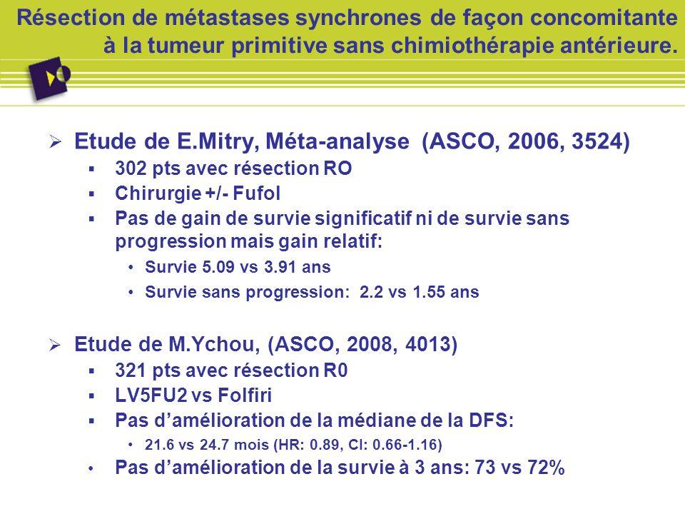 Résection de métastases synchrones de façon concomitante à la tumeur primitive sans chimiothérapie antérieure. Etude de E.Mitry, Méta-analyse (ASCO, 2