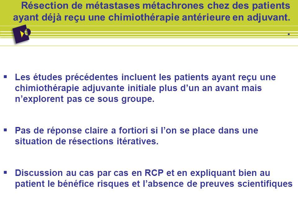 Résection de métastases métachrones chez des patients ayant déjà reçu une chimiothérapie antérieure en adjuvant.. Les études précédentes incluent les