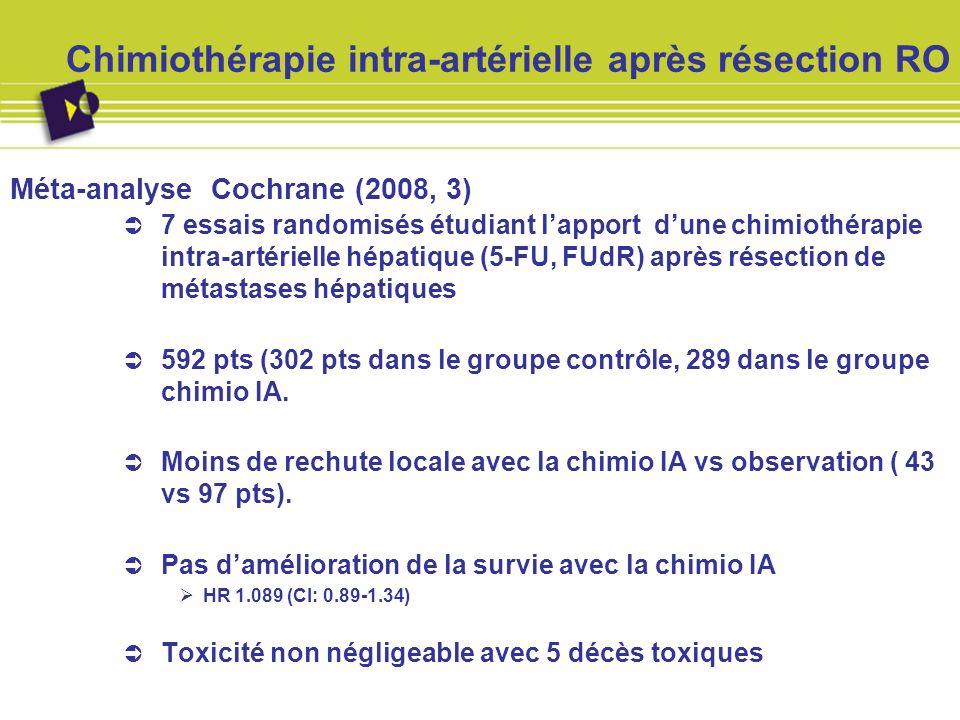 Chimiothérapie intra-artérielle après résection RO Méta-analyse Cochrane (2008, 3) 7 essais randomisés étudiant lapport dune chimiothérapie intra-arté