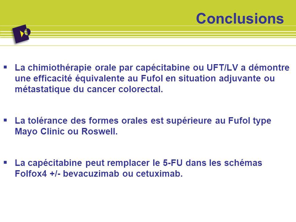 Conclusions La chimiothérapie orale par capécitabine ou UFT/LV a démontre une efficacité équivalente au Fufol en situation adjuvante ou métastatique d