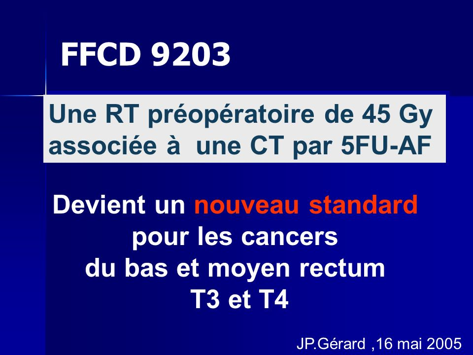Une RT préopératoire de 45 Gy associée à une CT par 5FU-AF Une RT préopératoire de 45 Gy associée à une CT par 5FU-AF Devient un nouveau standard pour