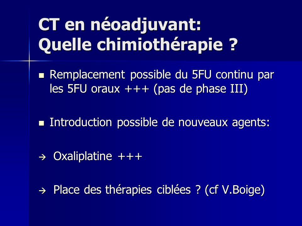 CT en néoadjuvant: Quelle chimiothérapie ? Remplacement possible du 5FU continu par les 5FU oraux +++ (pas de phase III) Remplacement possible du 5FU