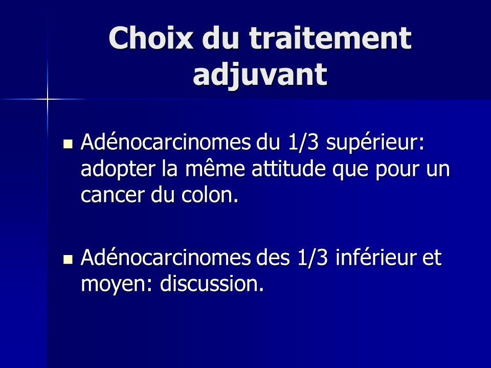 Choix du traitement adjuvant Adénocarcinomes du 1/3 supérieur: adopter la même attitude que pour un cancer du colon. Adénocarcinomes du 1/3 supérieur:
