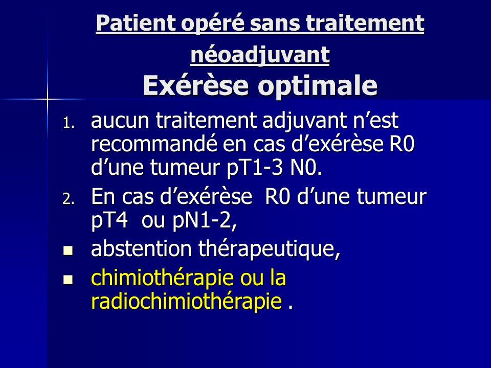 Patient opéré sans traitement néoadjuvant Exérèse optimale 1. aucun traitement adjuvant nest recommandé en cas dexérèse R0 dune tumeur pT1-3 N0. 2. En