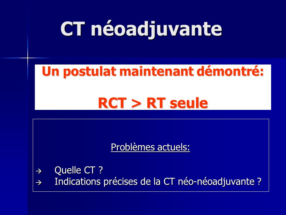 Un postulat maintenant démontré: RCT > RT seule Problèmes actuels: Quelle CT ? Quelle CT ? Indications précises de la CT néo-néoadjuvante ? Indication