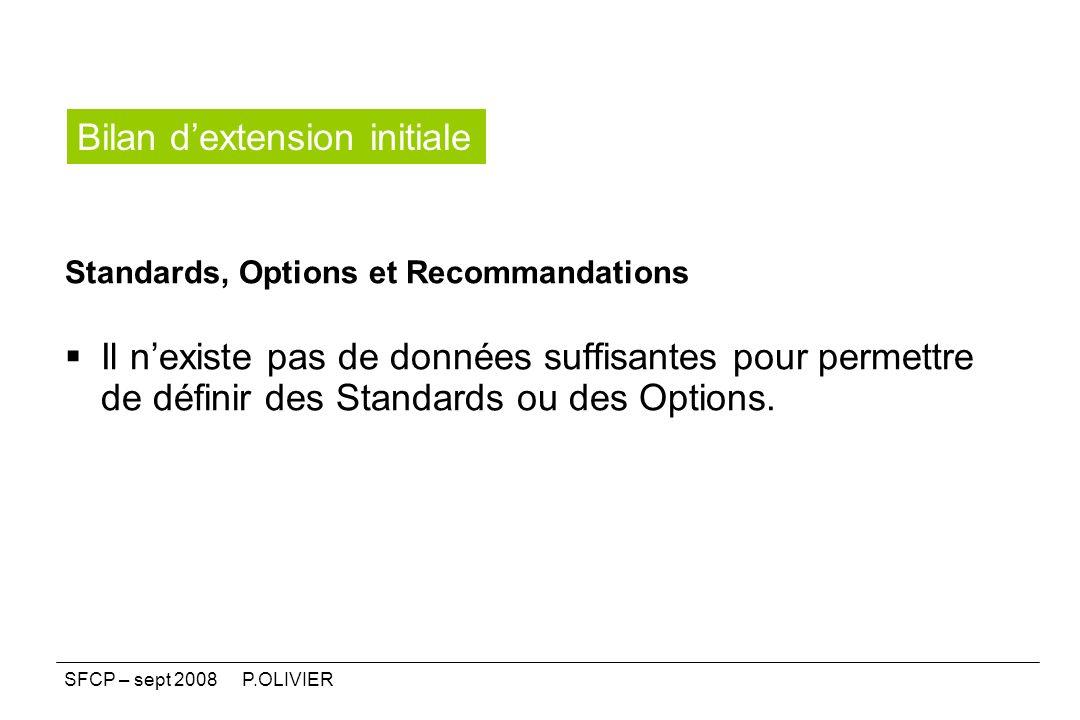 Standards, Options et Recommandations Il nexiste pas de données suffisantes pour permettre de définir des Standards ou des Options. Bilan dextension i
