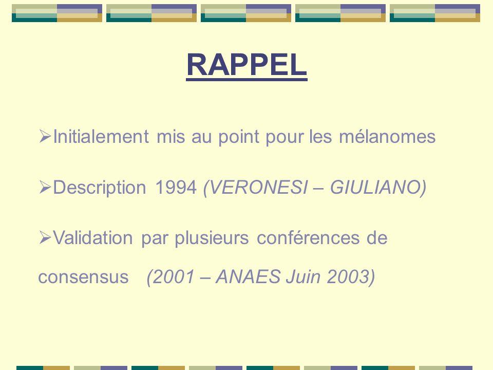 RAPPEL Initialement mis au point pour les mélanomes Description 1994 (VERONESI – GIULIANO) Validation par plusieurs conférences de consensus (2001 – A