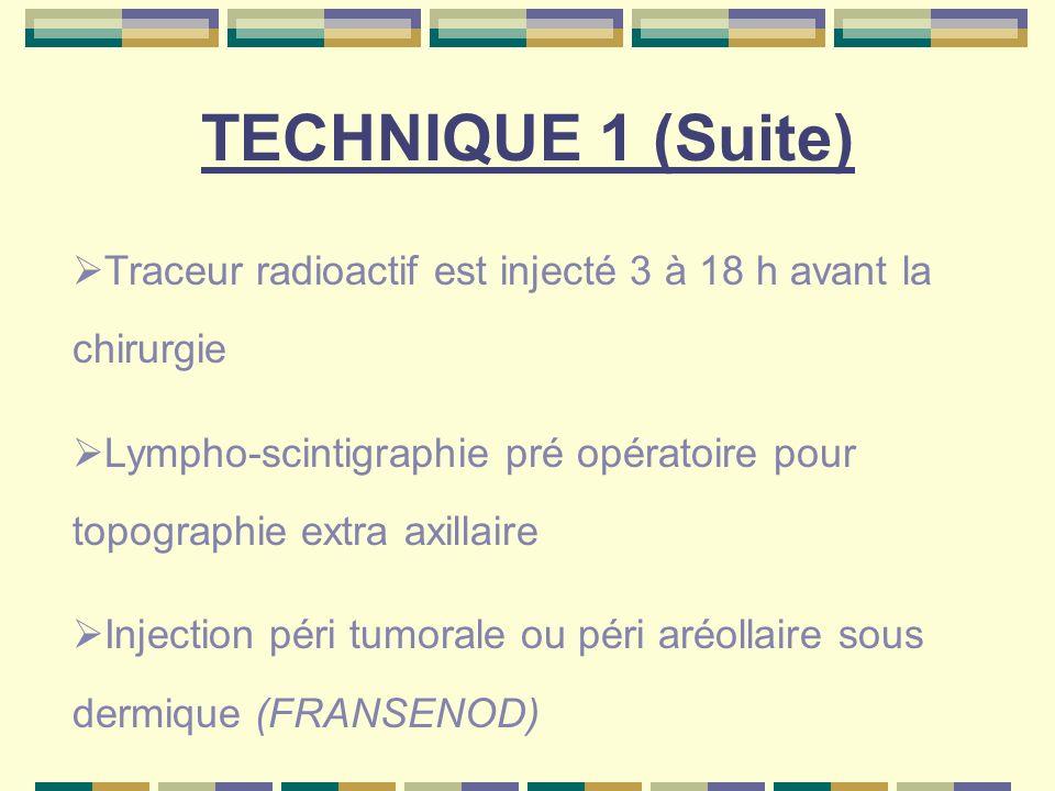 TECHNIQUE 1 (Suite) Traceur radioactif est injecté 3 à 18 h avant la chirurgie Lympho-scintigraphie pré opératoire pour topographie extra axillaire In