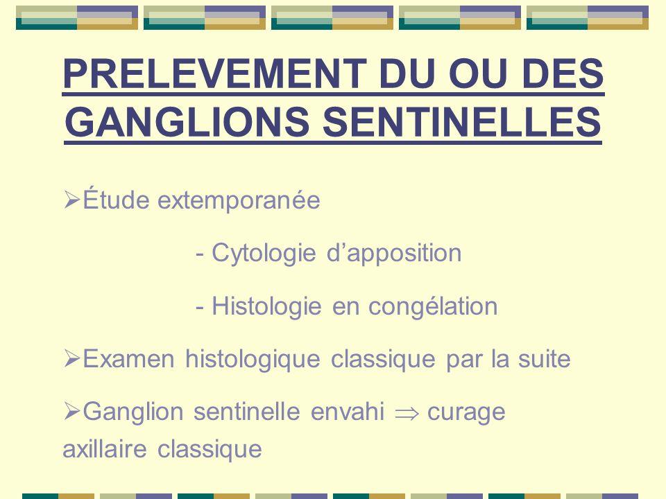 PRELEVEMENT DU OU DES GANGLIONS SENTINELLES Étude extemporanée - Cytologie dapposition - Histologie en congélation Examen histologique classique par l