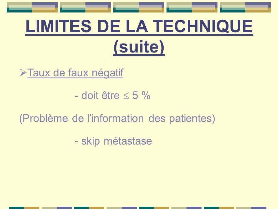 Taux de faux négatif - doit être 5 % (Problème de linformation des patientes) - skip métastase LIMITES DE LA TECHNIQUE (suite)