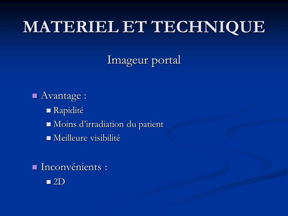 MATERIEL ET TECHNIQUE Imageur portal Avantage : Avantage : Rapidité Rapidité Moins dirradiation du patient Moins dirradiation du patient Meilleure vis