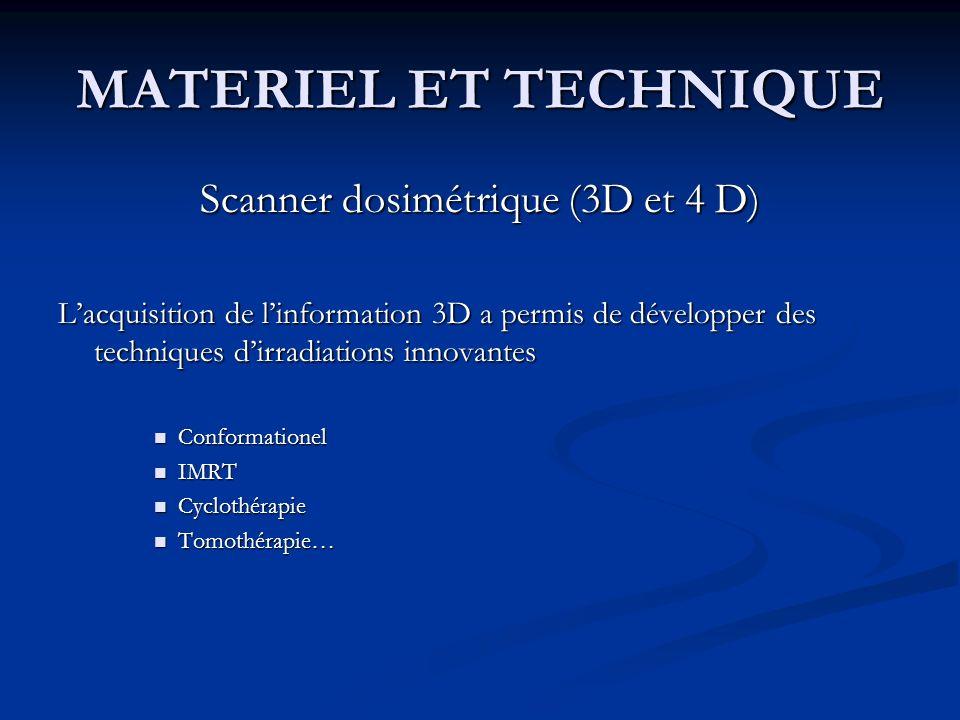 MATERIEL ET TECHNIQUE Scanner dosimétrique (3D et 4 D) Lacquisition de linformation 3D a permis de développer des techniques dirradiations innovantes