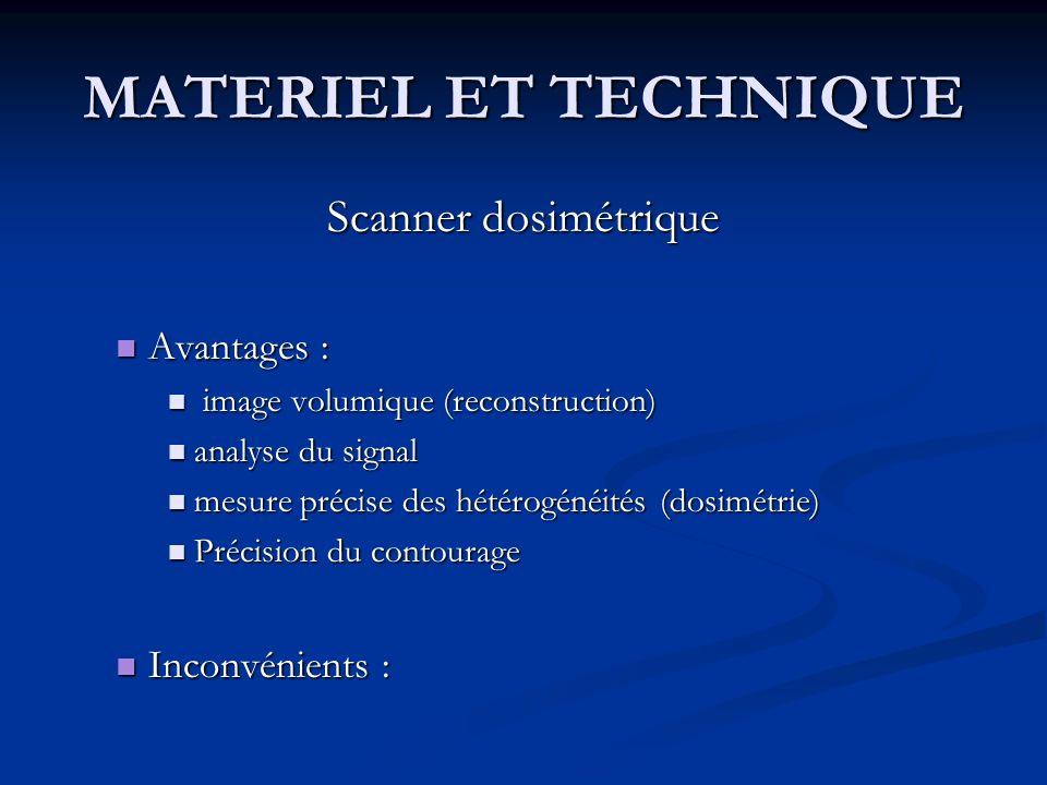 MATERIEL ET TECHNIQUE Scanner dosimétrique Avantages : Avantages : image volumique (reconstruction) image volumique (reconstruction) analyse du signal