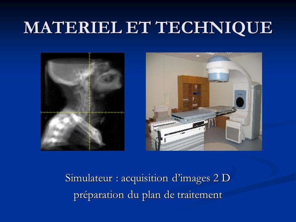 MATERIEL ET TECHNIQUE Simulateur : acquisition dimages 2 D préparation du plan de traitement