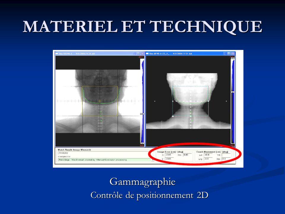 MATERIEL ET TECHNIQUE Gammagraphie Contrôle de positionnement 2D