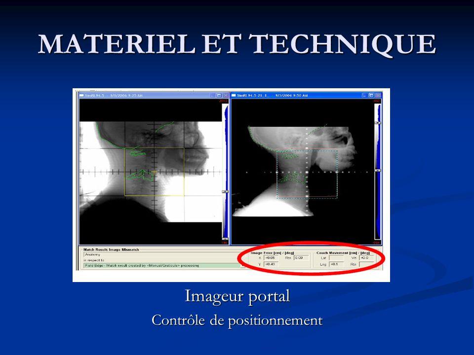 MATERIEL ET TECHNIQUE Imageur portal Contrôle de positionnement