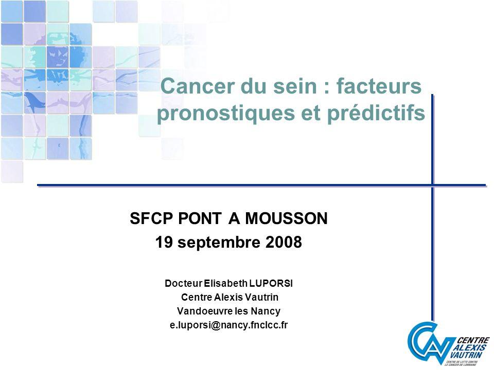 Cancer du sein : facteurs pronostiques et prédictifs SFCP PONT A MOUSSON 19 septembre 2008 Docteur Elisabeth LUPORSI Centre Alexis Vautrin Vandoeuvre
