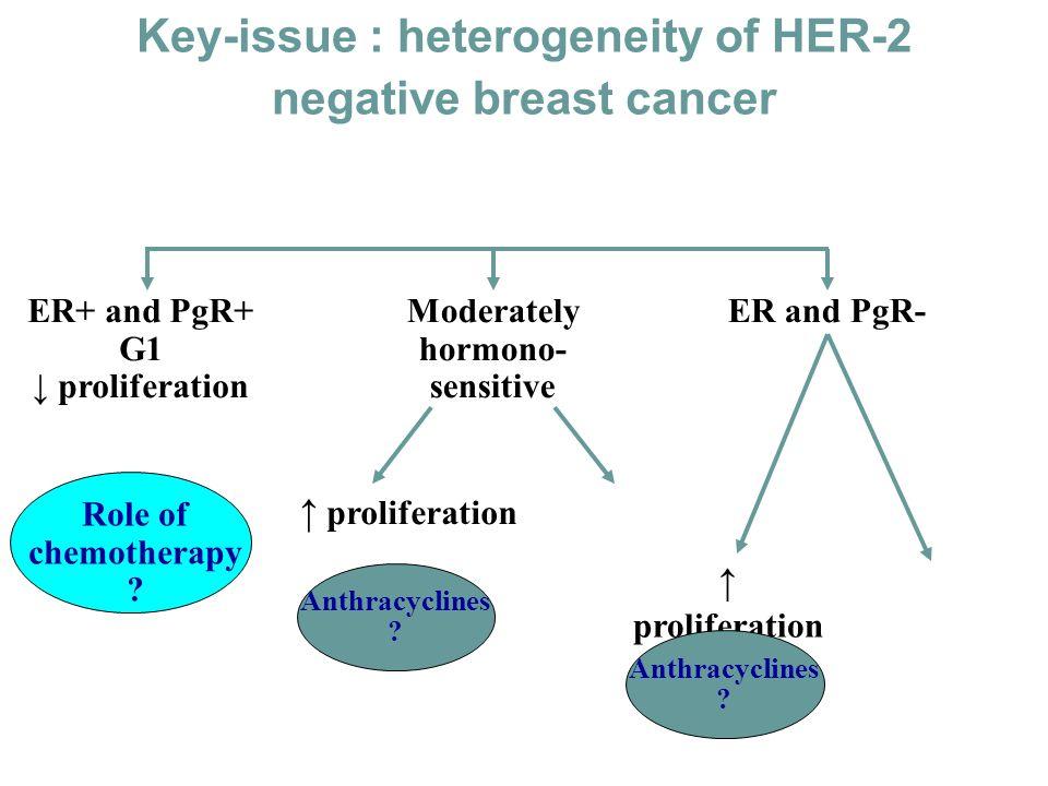 Key-issue : heterogeneity of HER-2 negative breast cancer HER-2 negative ER+ and PgR+ G1 proliferation Moderately hormono- sensitive proliferation Ant