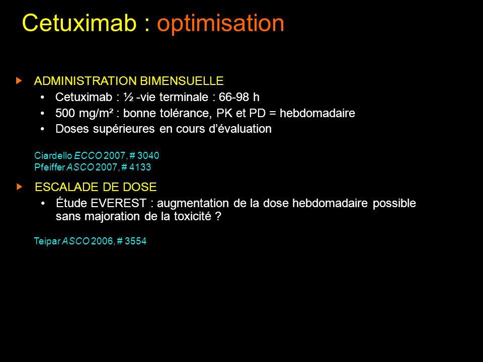 Cetuximab : optimisation ADMINISTRATION BIMENSUELLE Cetuximab : ½ -vie terminale : 66-98 h 500 mg/m² : bonne tolérance, PK et PD = hebdomadaire Doses