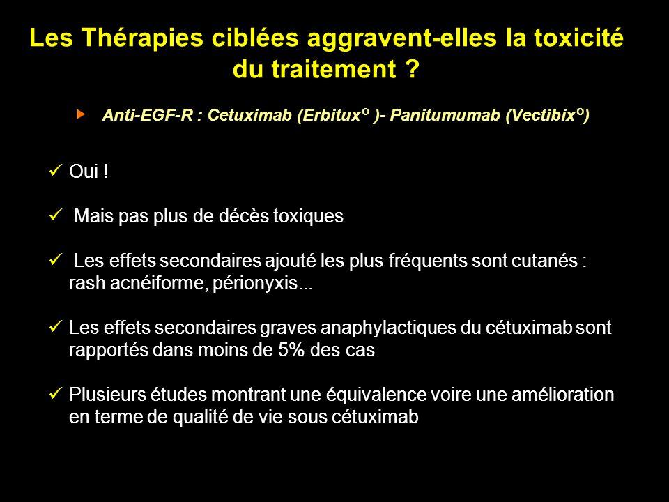 Les Thérapies ciblées aggravent-elles la toxicité du traitement ? Anti-EGF-R : Cetuximab (Erbitux° )- Panitumumab (Vectibix°) Oui ! Mais pas plus de d