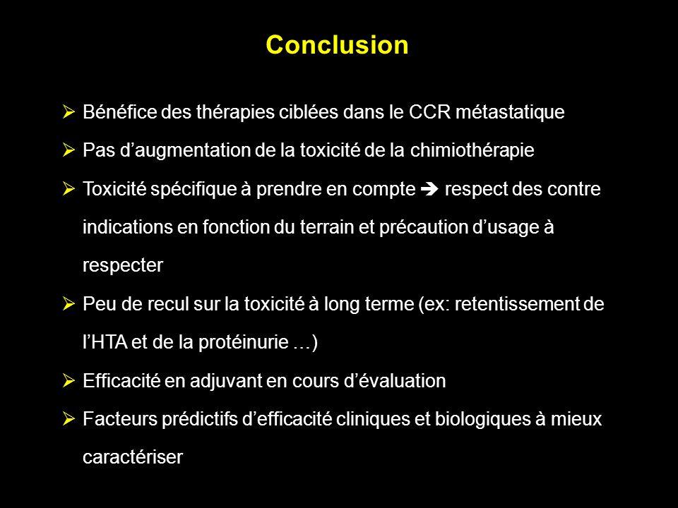 Conclusion Bénéfice des thérapies ciblées dans le CCR métastatique Pas daugmentation de la toxicité de la chimiothérapie Toxicité spécifique à prendre