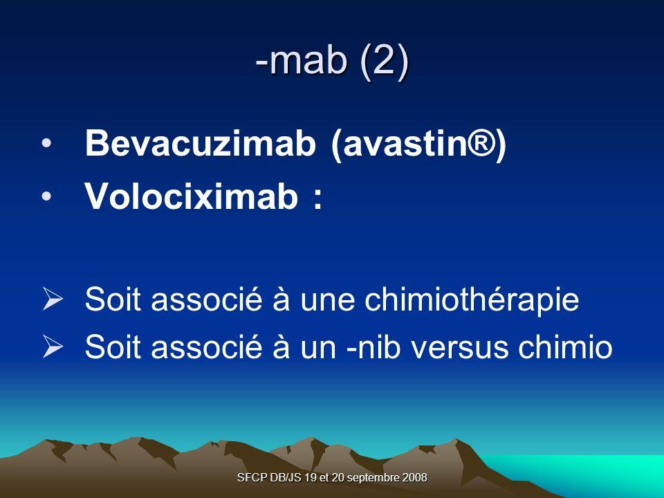 SFCP DB/JS 19 et 20 septembre 2008 -mab (2) Bevacuzimab (avastin®) Volociximab : Soit associé à une chimiothérapie Soit associé à un -nib versus chimi