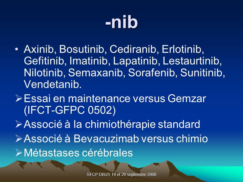 SFCP DB/JS 19 et 20 septembre 2008 -nib Axinib, Bosutinib, Cediranib, Erlotinib, Gefitinib, Imatinib, Lapatinib, Lestaurtinib, Nilotinib, Semaxanib, S