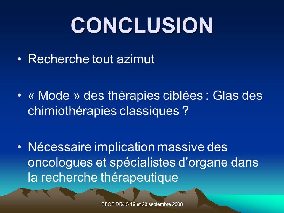 SFCP DB/JS 19 et 20 septembre 2008 CONCLUSION Recherche tout azimut « Mode » des thérapies ciblées : Glas des chimiothérapies classiques ? Nécessaire